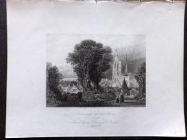 Holmes C1840 Antique Print. Caudebec on the Seine, France
